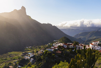Mountain village of Tejeda, with Roque Bentayga in the background, Gran Canaria, Las Palmas, Canary Islands