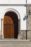 Church door of the parish church Nuestra Senora del Socorro, in the center of Tejeda, Gran Canaria, Las Palmas, Canary Islands