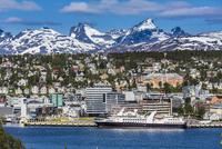 Skyline and harbour of Tromsoe, Troms, Northern Norway, Norway