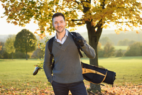 Portrait of Man on Golf Course in Autumn, Bavaria, Germany