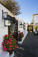 Small alley and white washed buildings of Betancuria, Fuerteventura, Las Palmas, Canary Islands