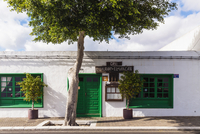 Tree by Entrance to Restaurant El Volcan in White Washed Building with Green Windows and Door, Yaiza, Lanzarote, Canary Islands,