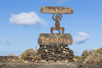 Sign for Timanfaya National Park, Lanzarote, Canary Islands, Spain
