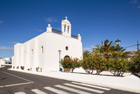 White Washed Village Church with Palm Trees, Uga, Lanzarote, Canary Islands, Spain