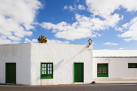 White Washed House with Green Windows and Door, Yaiza, Lanzarote, Canary Islands, Spain