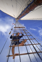 Man Searches for Signs of Sea Life or other Boats while aloft in Ship's Rigging