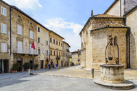 Collegiate Church of San Quirico with Well, San Quirico d'Orcia, Val d'Orcia, Siena, Tuscany, Italy