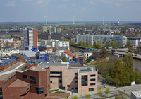 Elevated Cityscape of Bremerhaven with Wind Turbines in the background, Bremen, Germany