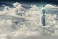 Digital Illustration of Lighthouse in Clouds