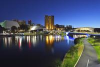 Torrens Lake and Adelaide Festival Centre at Dusk, Adelaide, South Australia, Australia