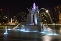 Three Rivers Fountain in Victoria Square Illuminated at Night, Adelaide, South Australia, Australia