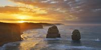 Limestone Stacks at Sunrise, The Twelve Apostles, Princetown, Great Ocean Road, Victoria, Australia