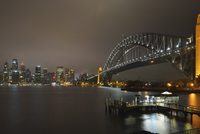 Sydney Harbour Bridge and City Skyline at Night, Sydney, New South Wales, Australia