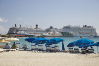 Great Bay Beach with view of cruise ships in dock, Philipsburg, Sint Maarten, Netherlands Antilles, Caribbean