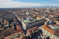 Elevated View of Cityscape with Italian Alps in the background, Turin, Italy