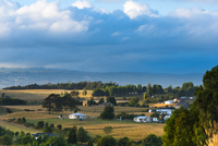 Overview of Meadows around Chonchi, Chiloe Island, Chile