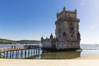 Torre de Belem on the Tejo River, an important example of Manueline architecture, UNESCO World Heritage Site, Belem, Lisbon, Por