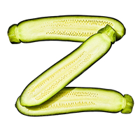 Letter Z Made from Zucchini