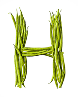 Letter H Made of Haricot Verts
