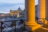 St Peter's Basilica and Square illuminated at dusk, Vatican City, Rome, Italy