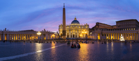 St Peter's Basilica and Square, illuminated at dusk, Vatican City, Rome, Italy