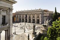 Statues of Castor and Pollux and Palazzo dei Conservatori at Piazza del Campidoglio, Capitolini Museum, Capitoline Hill, Rome, I