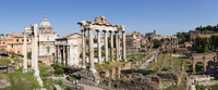 Roman Forum, Arch San Severus, Temple of Saturn, Temple of Vespasian and Titus with Santi Luca e Martina in the background, UNES 20025324121| 写真素材・ストックフォト・画像・イラスト素材|アマナイメージズ
