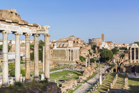 Roman Forum, Temple of Saturn and view to the Colosseum, UNESCO World Heritage Site, Rome, Italy