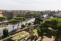 Elevated view of the road Via dei Fori Imperiali with the Roman Forum and Temple of Venus Genetrix, Forum of Augustus and the Co 20025324140| 写真素材・ストックフォト・画像・イラスト素材|アマナイメージズ