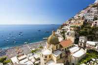 Elevated view of Positano with the Church of Santa Maria Assunta and the Tyrrhenian Sea, Amalfi Coast, Province of Salerno, Camp