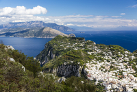 Elevated view of Capri with the Sorrento Peninsula in the background, Gulf of Naples, Tyrrhenian Sea, Campania, Italy