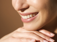 Extreme close up of a woman's smile