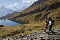 Backpackers Descending Alpine Trail