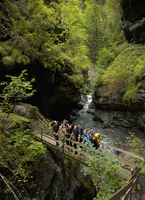 Group of Hikers Standing on Bridge over Gorge in Bernese Oberland 20025325661| 写真素材・ストックフォト・画像・イラスト素材|アマナイメージズ