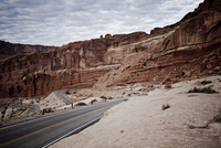Winding Road and Sandstone Formations