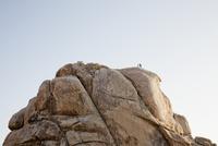 Rock Climbers Preparing to Abseil Boulder 20025325945| 写真素材・ストックフォト・画像・イラスト素材|アマナイメージズ