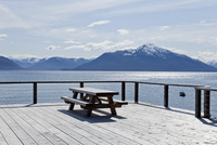 Deck with Picnic Table Overlooking Tenakee Inlet, Alaska, USA