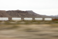 Mountain Landscape and Freight Train, Blurred Motion