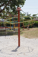 View of a plaything set up in a park.