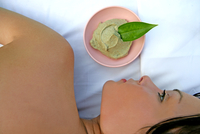 Cropped view of a woman lying near a bowl with spa botanicals