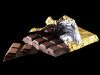 Chocolate bar with gold foil wrapper