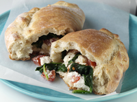 Spinach ricotta calzone editorial food