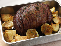 Beef silverside joint in a roasting tin