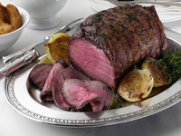 Beef silverside in a table setting