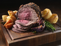 Irish roast beef joint with vegetables