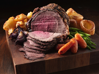 Irish roast beef joint with garlic