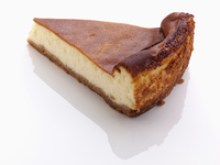 A slice of cheesecake on a white background