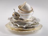 Cream and white antique china
