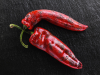 Flamed red sweet point peppers