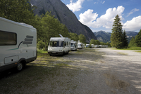 Austria, Tyrol, Mobile homes parked at a mobile home parking bay